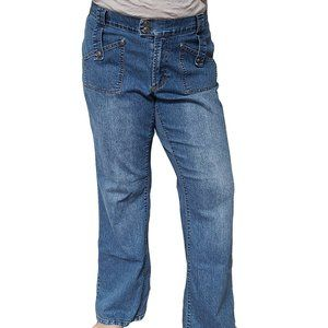 AE SPORT&CO Retro Wide Leg Med Wash Jeans 14